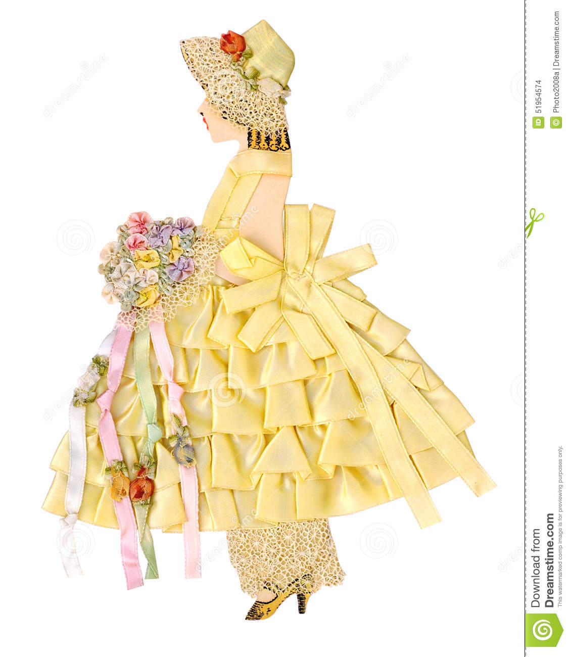 Vintage Ribbon Paper Doll Stock Photo Image 51954574