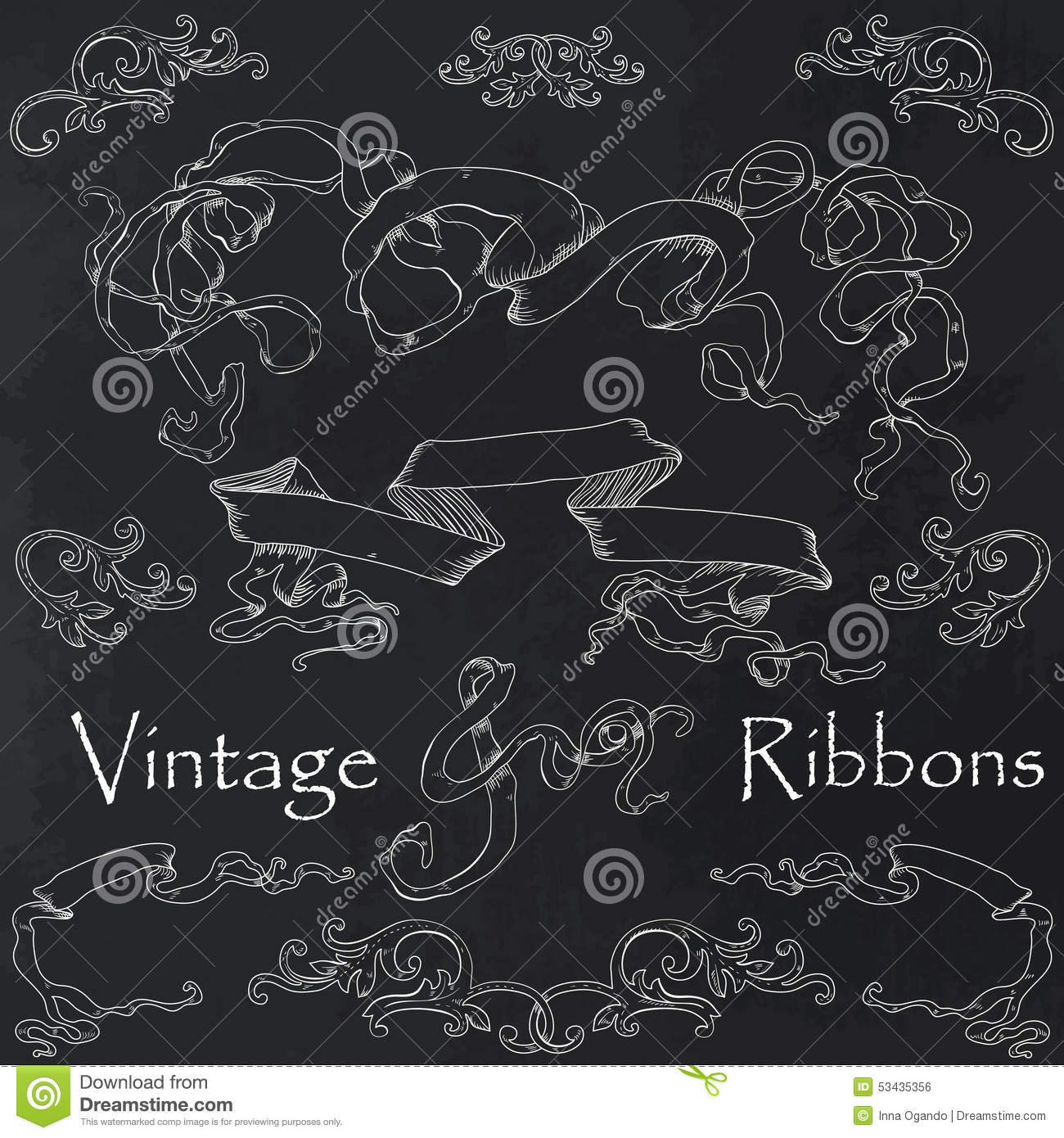 vintage ribbons collection stock vector. illustration of blank