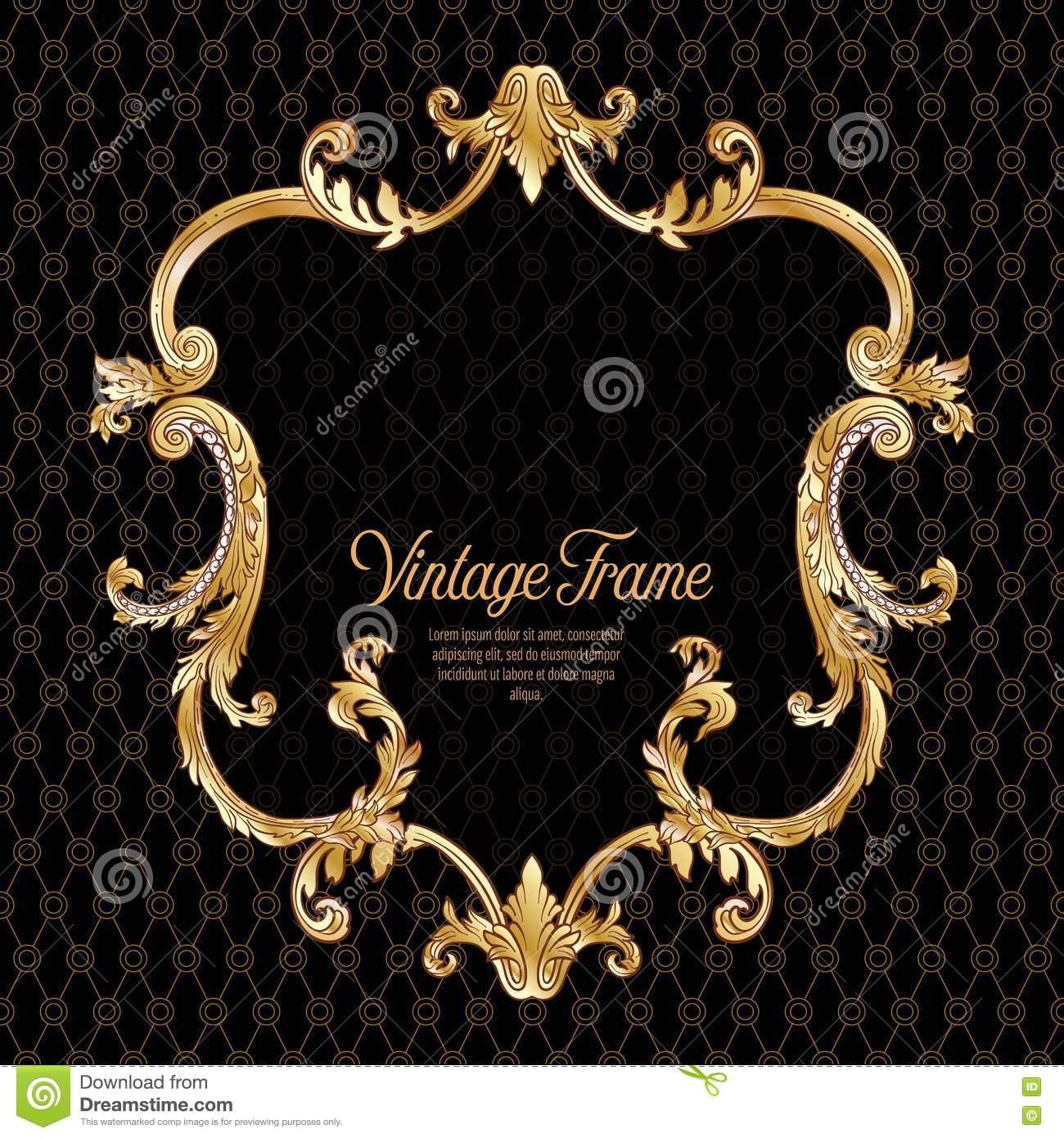 Vintage richly decorated frame in rococo style for menus for Rococo style frame