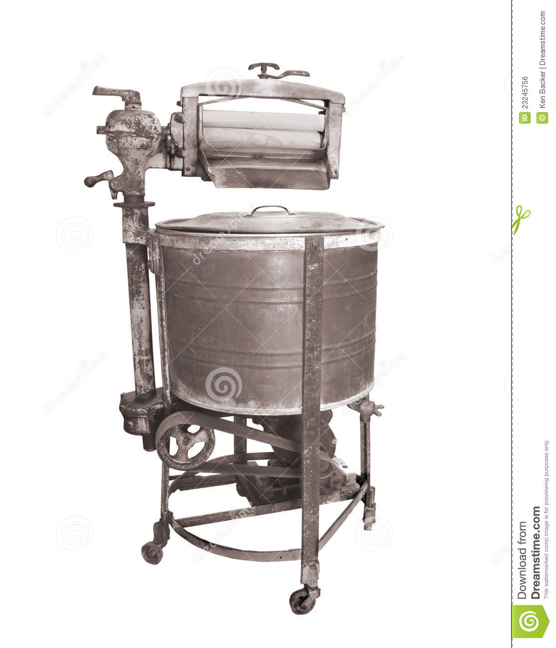 Old Washing Machine ~ Vintage ringer washing machine isolated stock photo