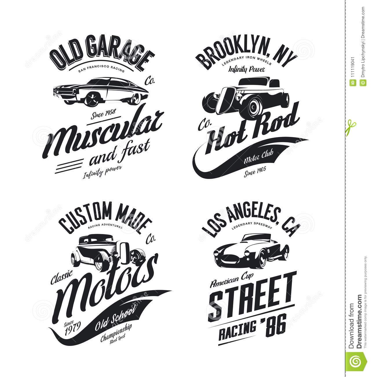 ab23dc48a Royalty-Free Vector. Vintage roadster, custom hot rod and muscle car vector  tee-shirt logo isolated set