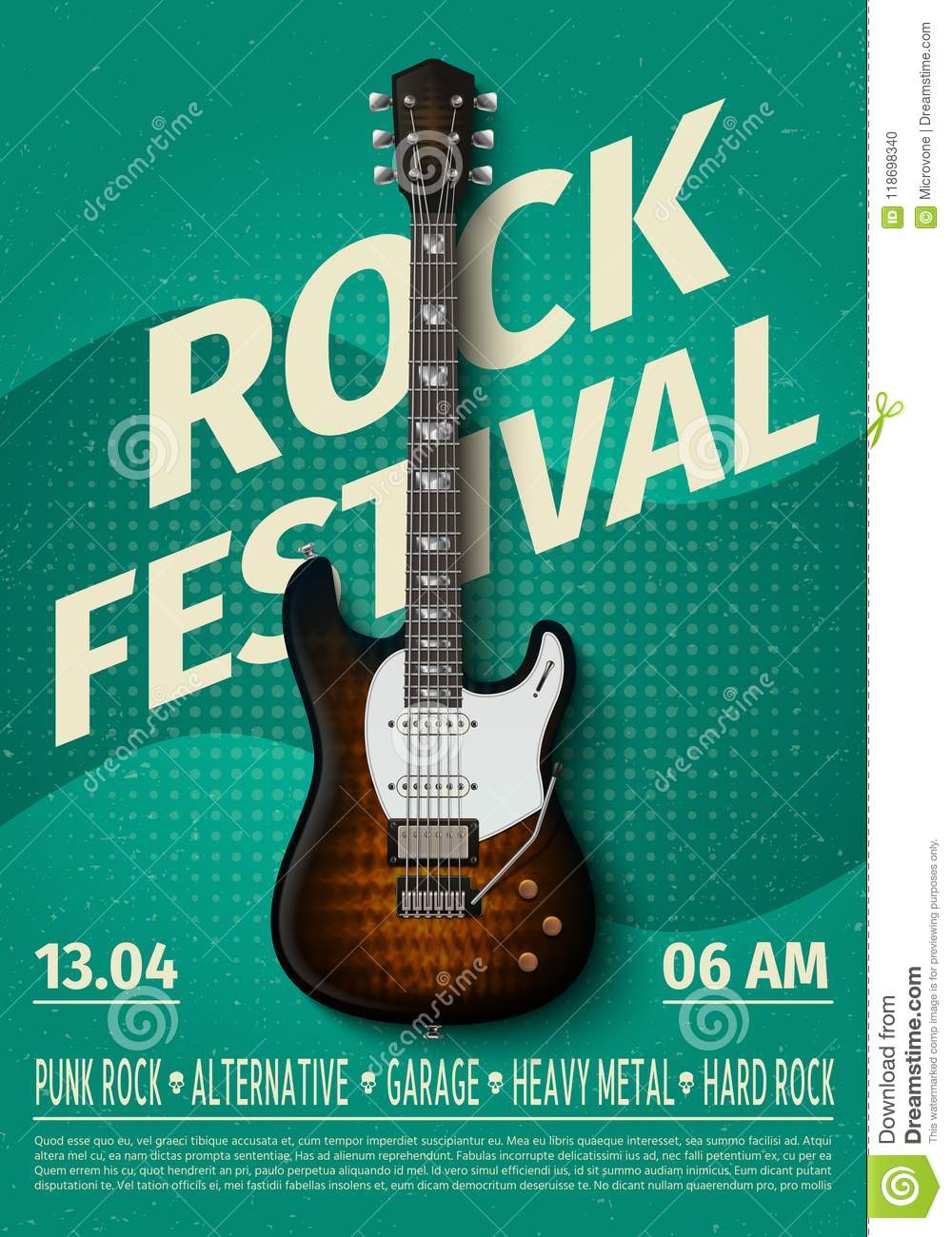 Vintage Rock Festival Flyer With Electric Guitar Retro Music