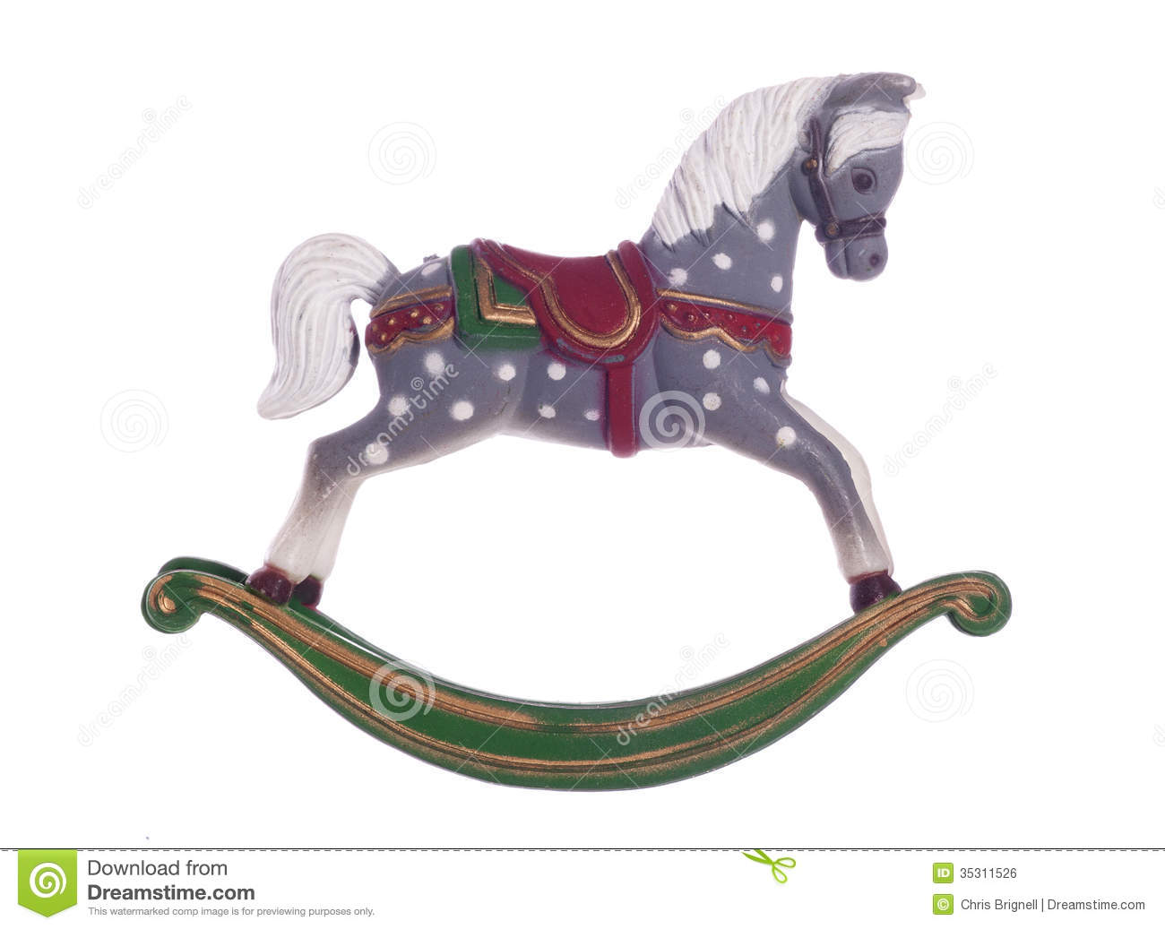 Christmas Horse Decorations.Vintage Rocking Horse Christmas Decoration Stock Photo