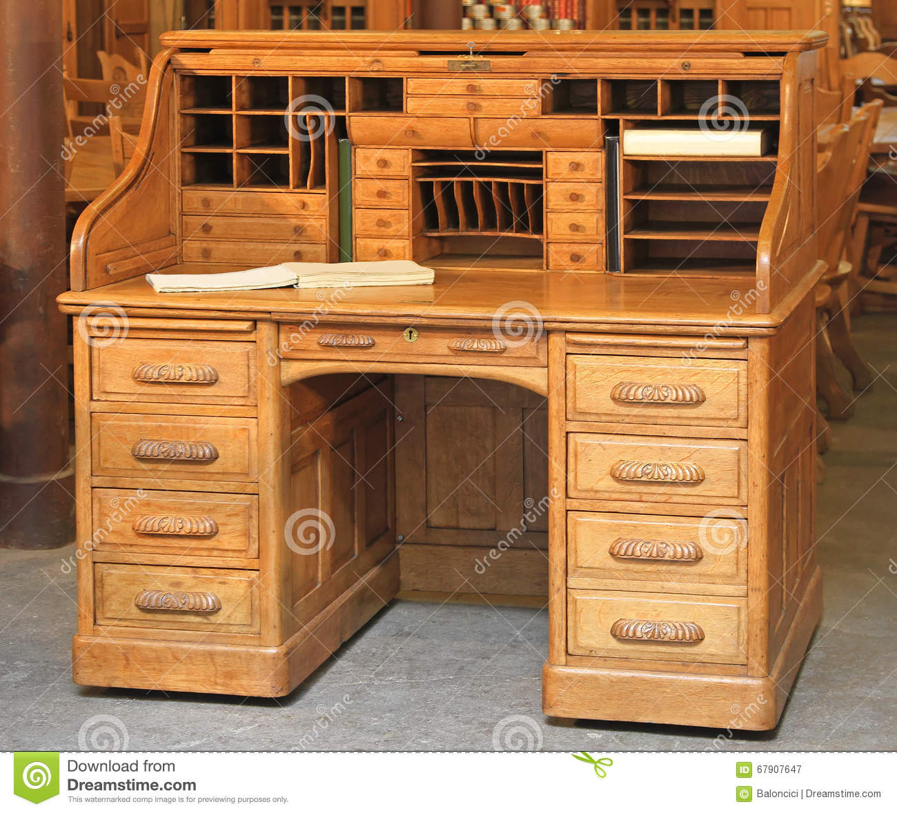Vintage Roll Top Desk Stock Image Image Of Drawers