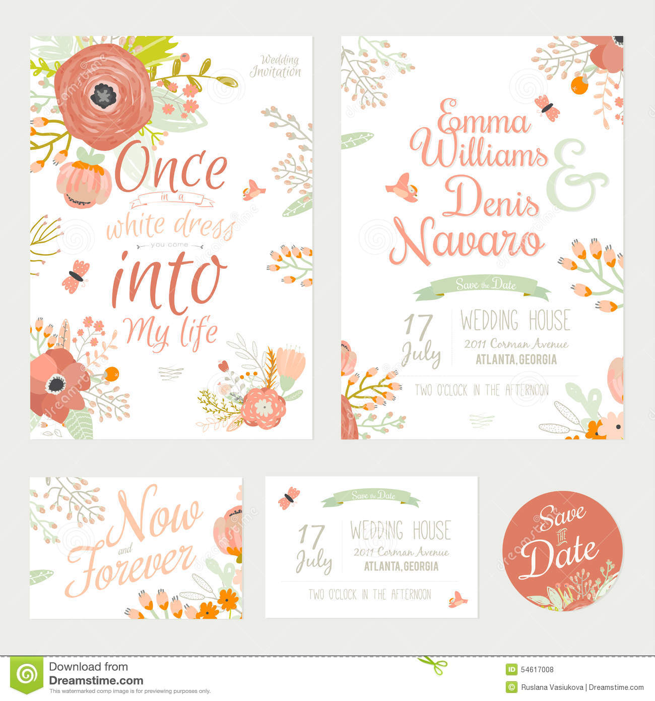 Vintage romantic floral save the date invitation stock for Vintage save the date templates free