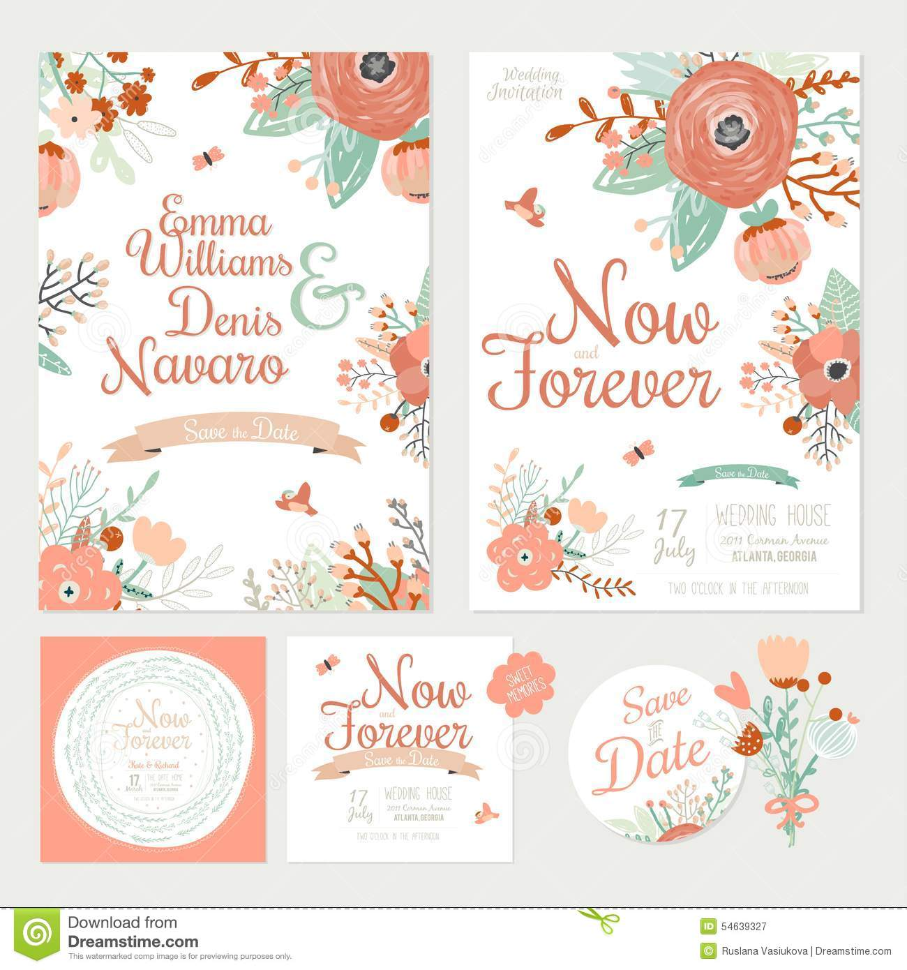 Vintage Romantic Floral Save The Date Invitation Stock