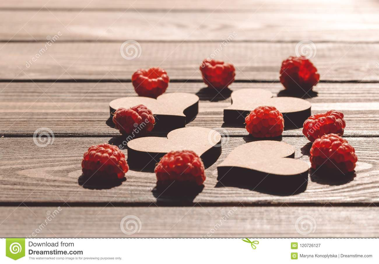 Greeting Card Hearts And Raspberries Stock Image Image Of Copy