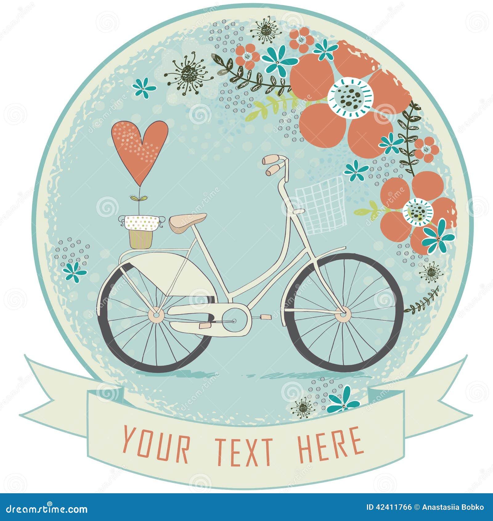 Vintage Romantic Love CardLove LabelRetro Bicycle With