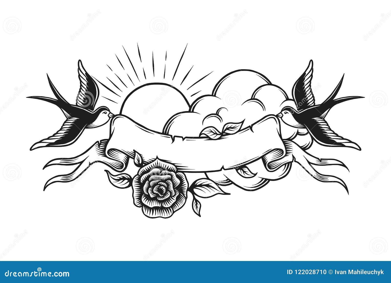 Vintage Romantic Tattoo Design Template Stock Vector