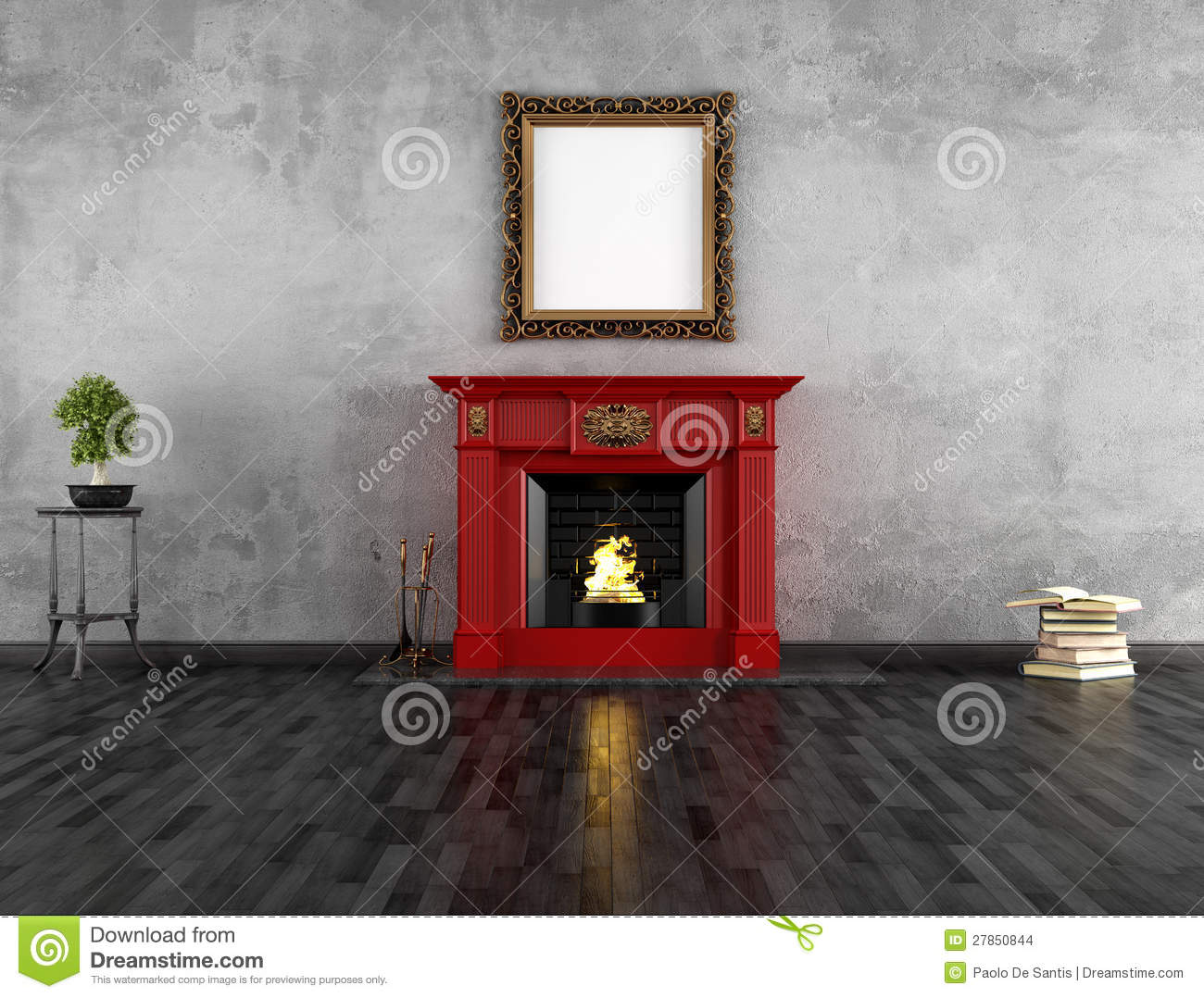 vintage room with fireplace stock illustration image 27850844