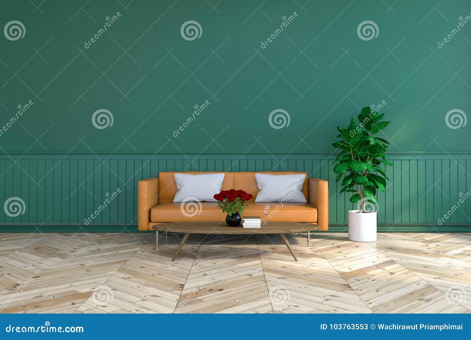 Vintage Room Interior Design Brown Leather Sofa On Wood Flooring