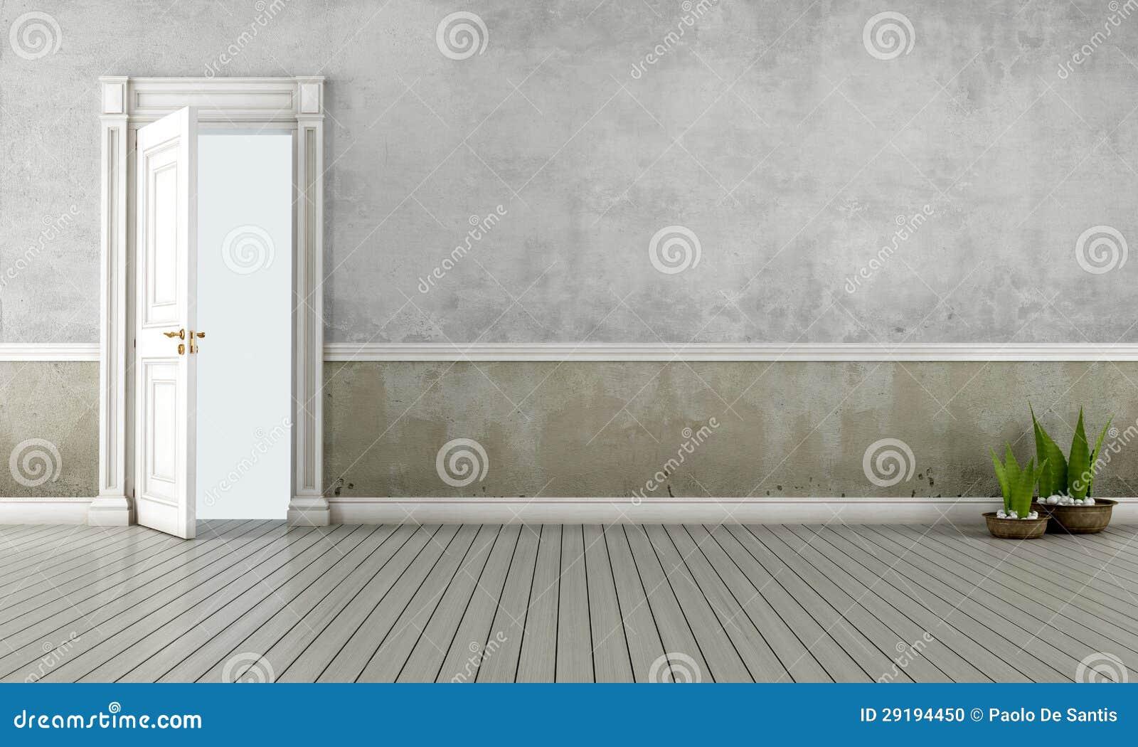 Vintage room with open door
