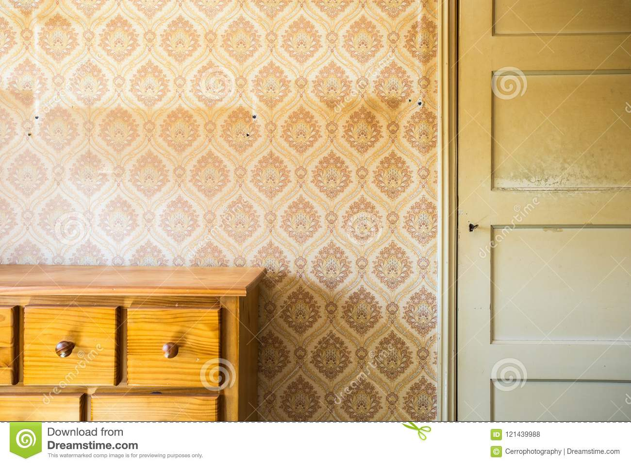 Vintage Room With Pattern Wallpaper And Old Fashioned Closet