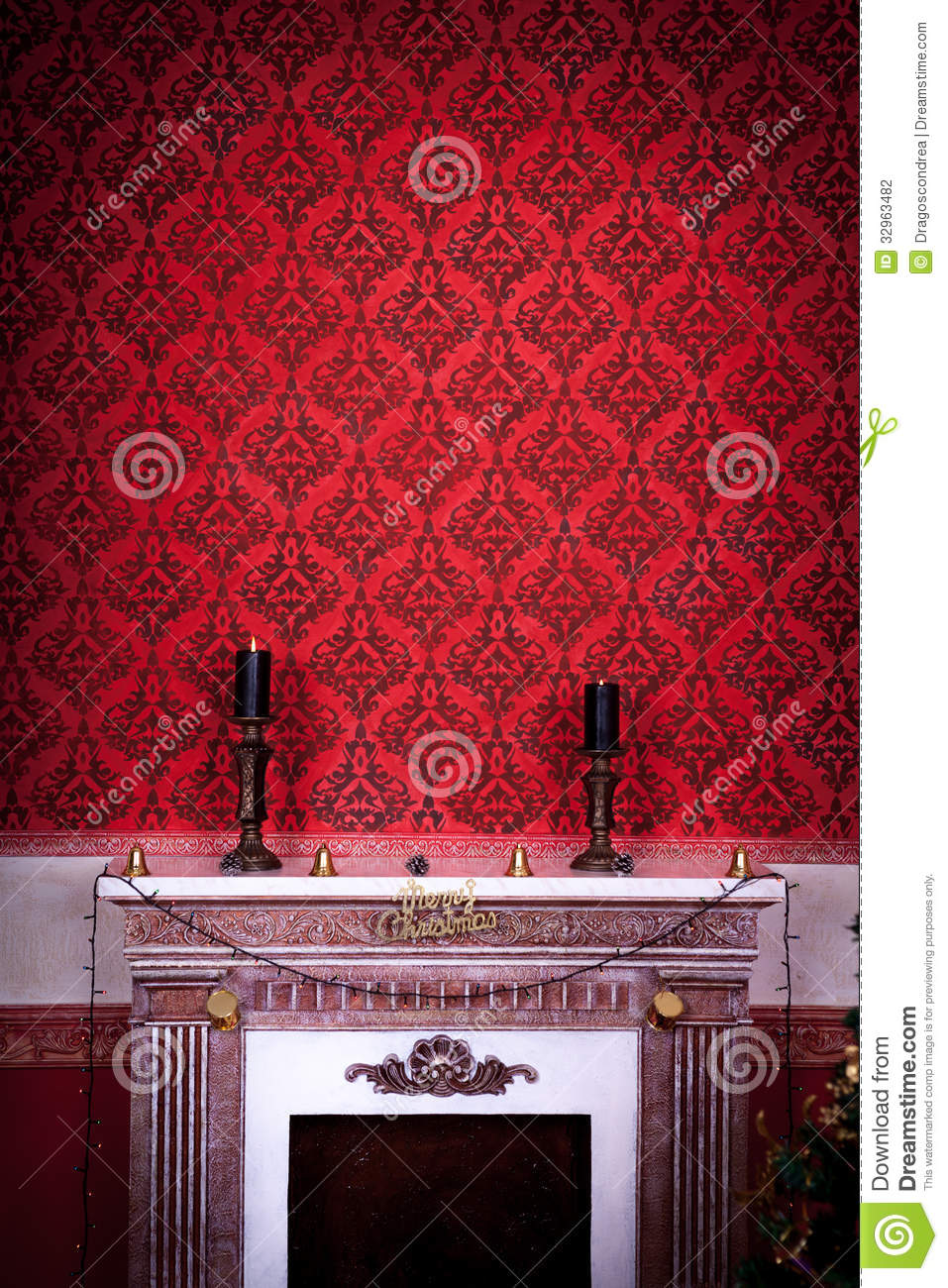 vintage room with two candels on a fireplace on a red background stock illustration