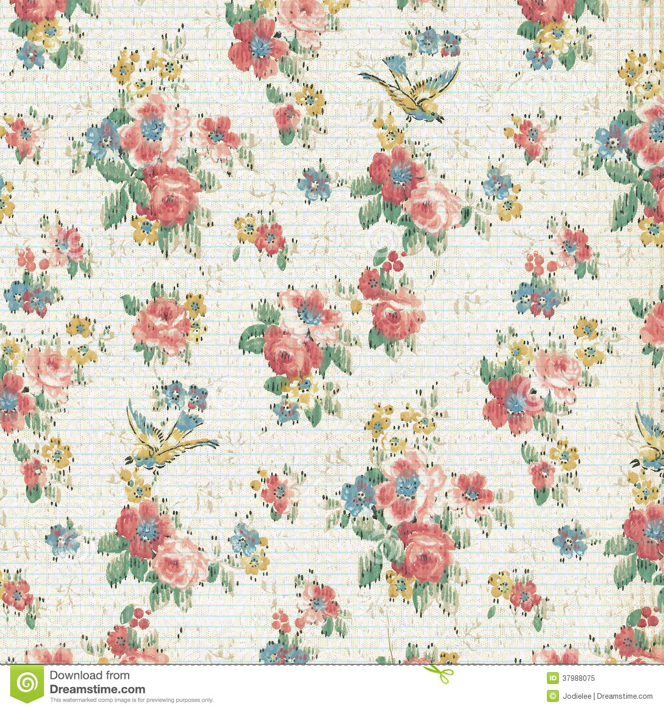 Vintage Rose Floral Wallpaper Shabby Chic Stock Image Image Of