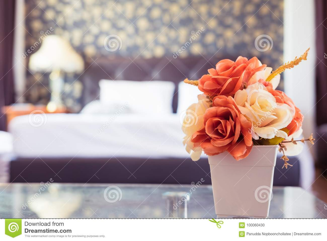 Vintage Rose Flower In The Bedroom Stock Photo - Image of background ...