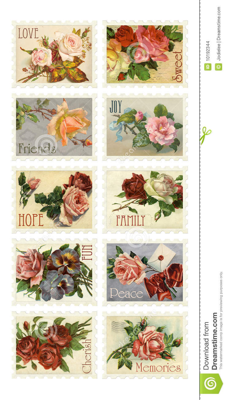 Vintage Rose Stamps with sentiments