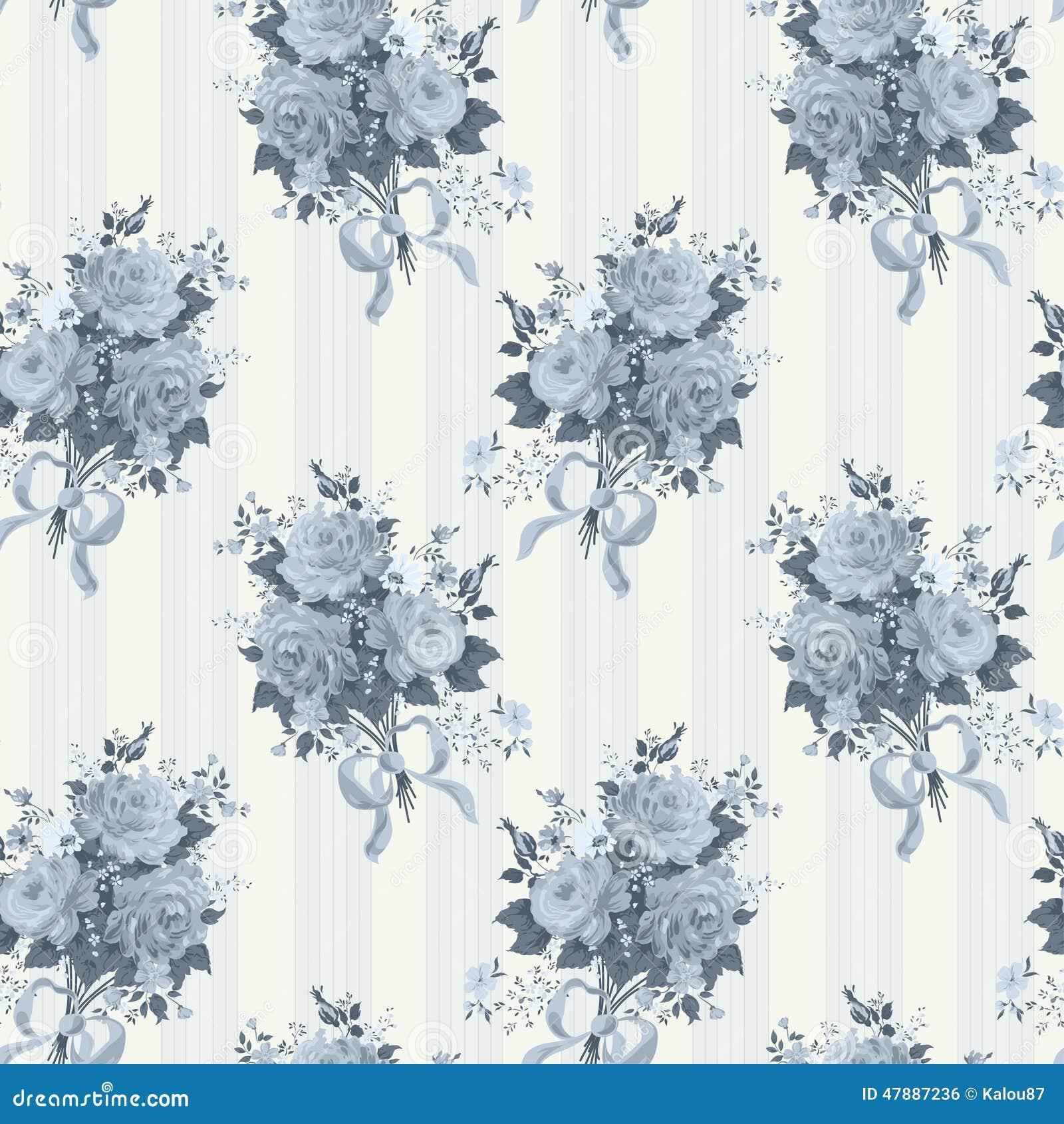 Vintage Rose Wallpaper Pattern Background In Blue Stock Vector