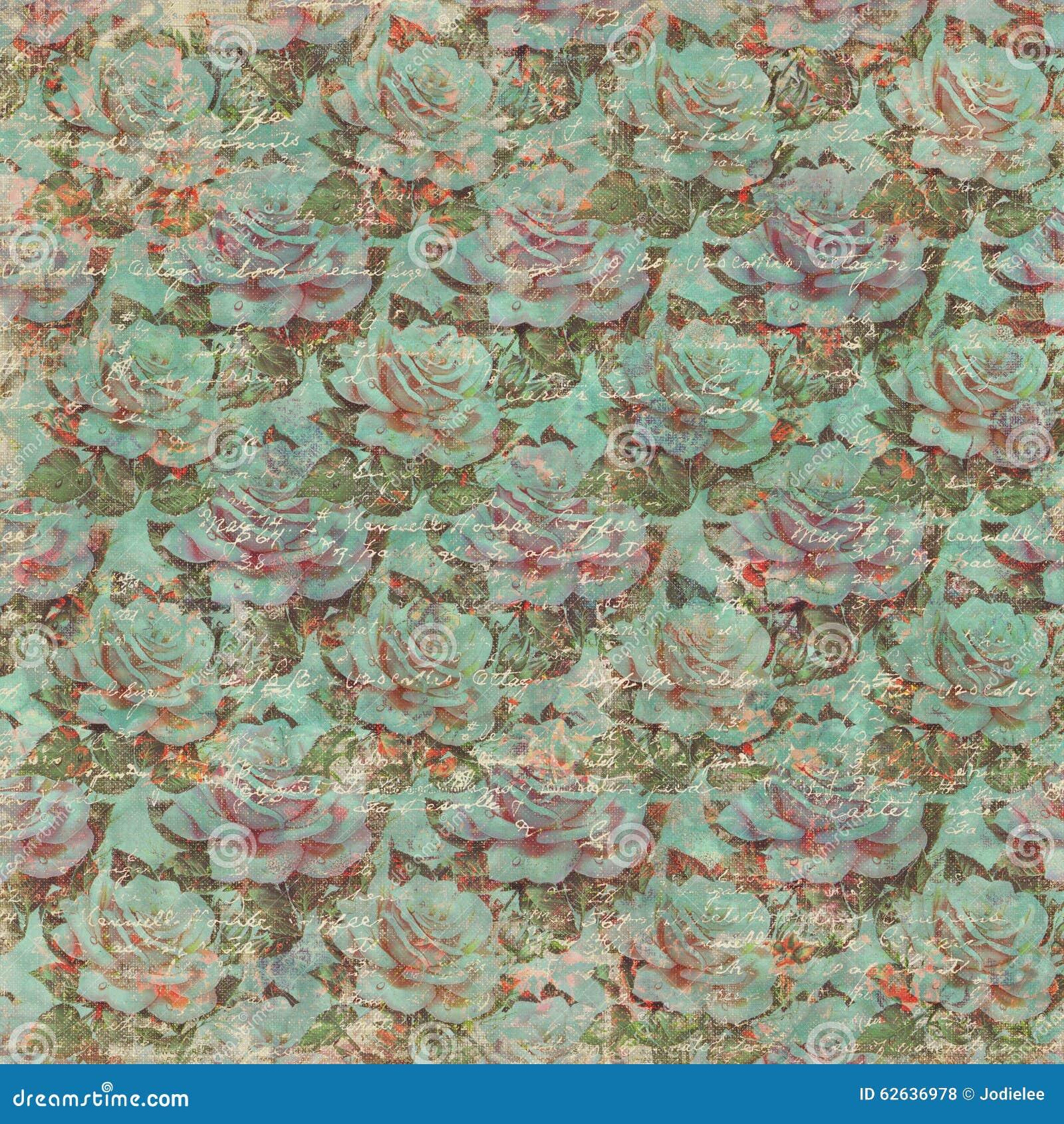 Vintage Rose Wallpaper Pattern sale avec le texte