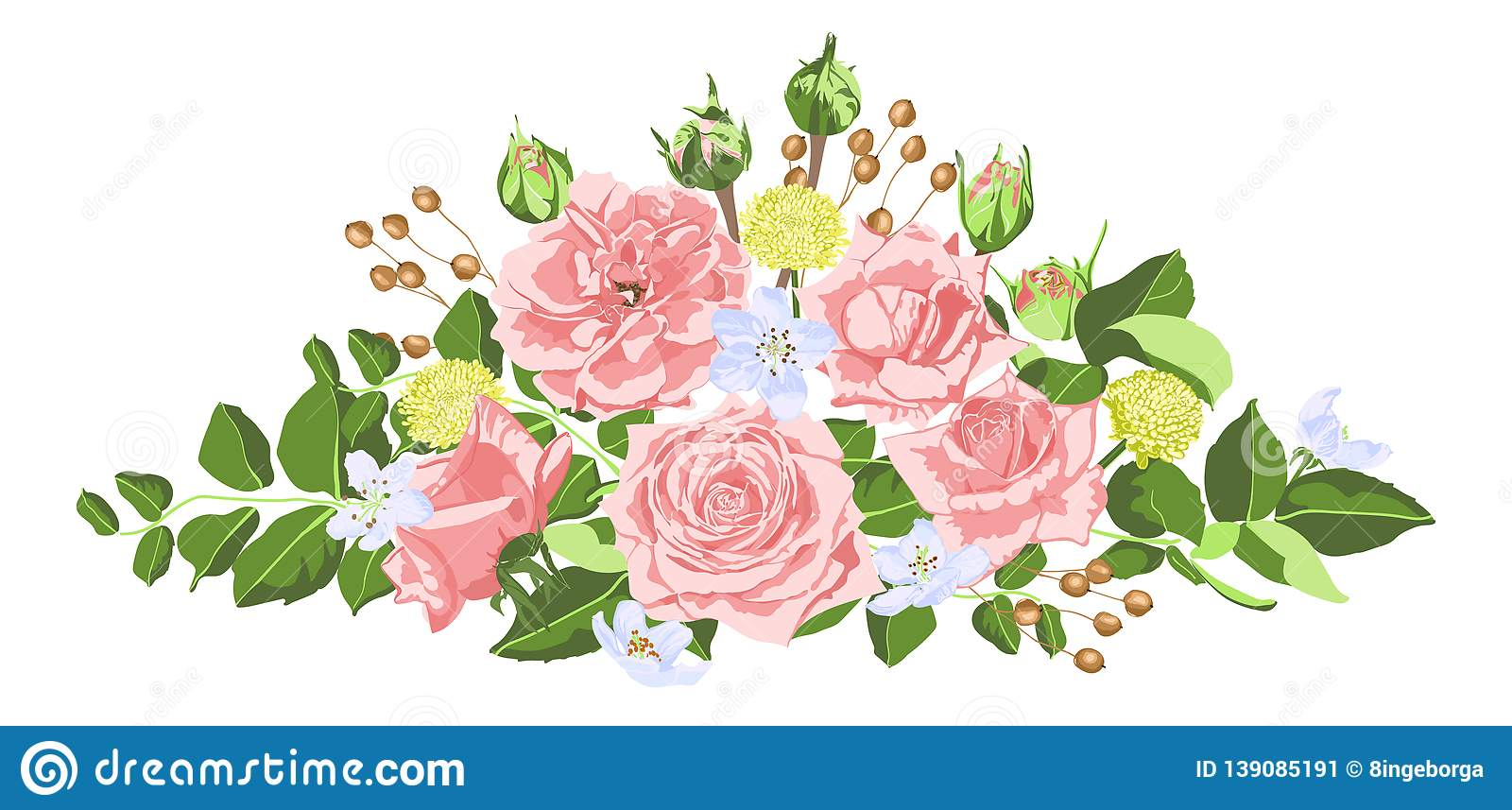 Vintage Roses Flowers Bouquet For Wedding  Stock Vector