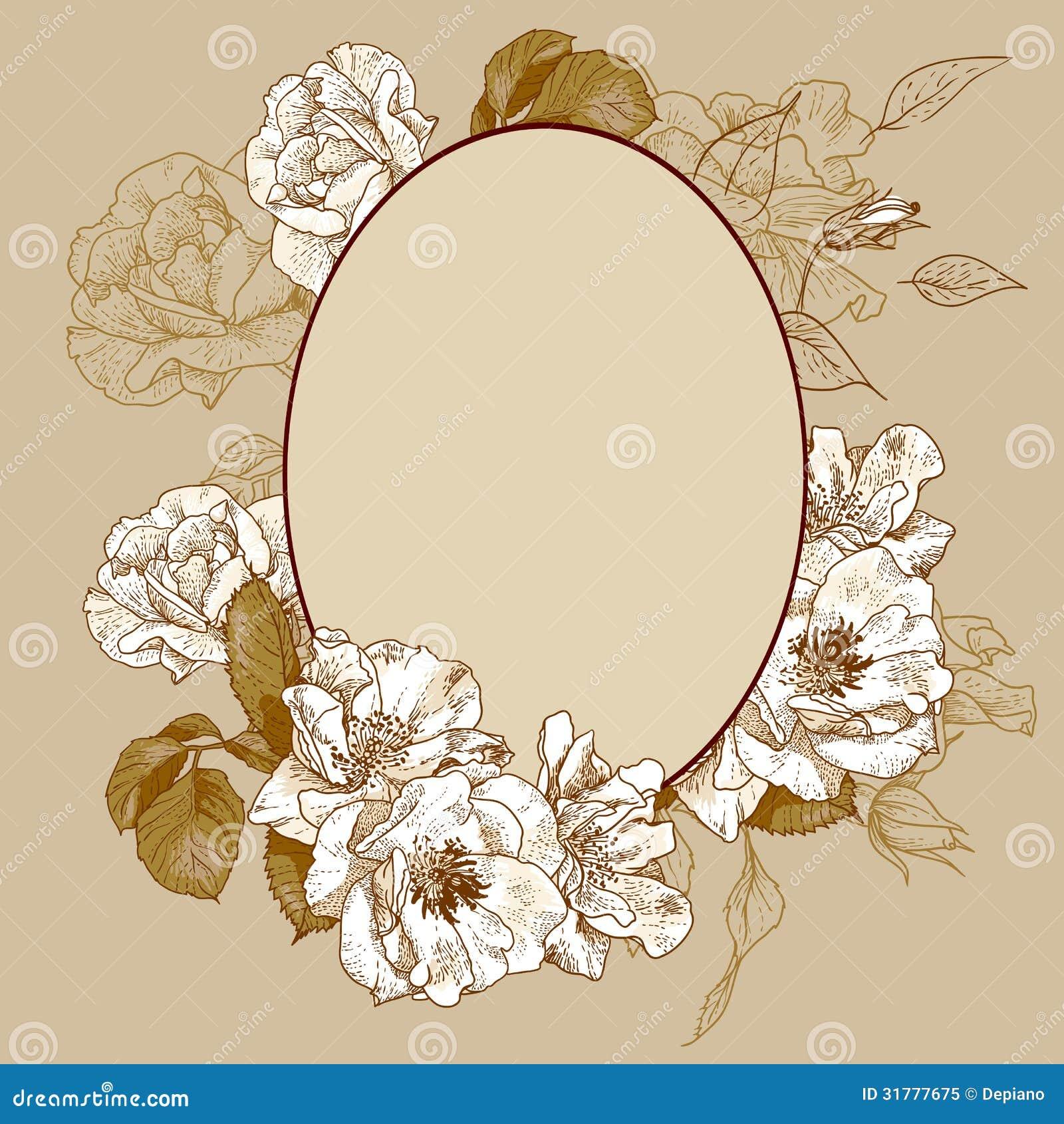 oval frame tattoo design. Vintage Roses Oval Frame Tattoo Design