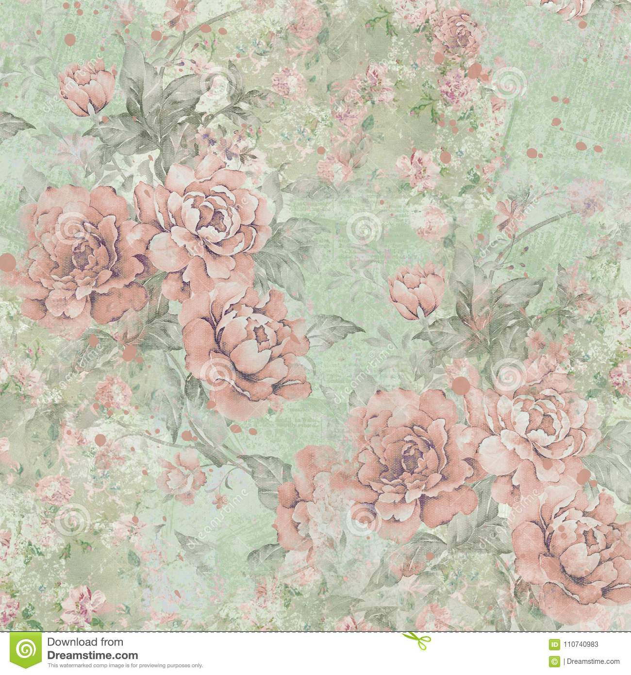 Vintage Roses Pattern Background Green Pink Roses Shabby