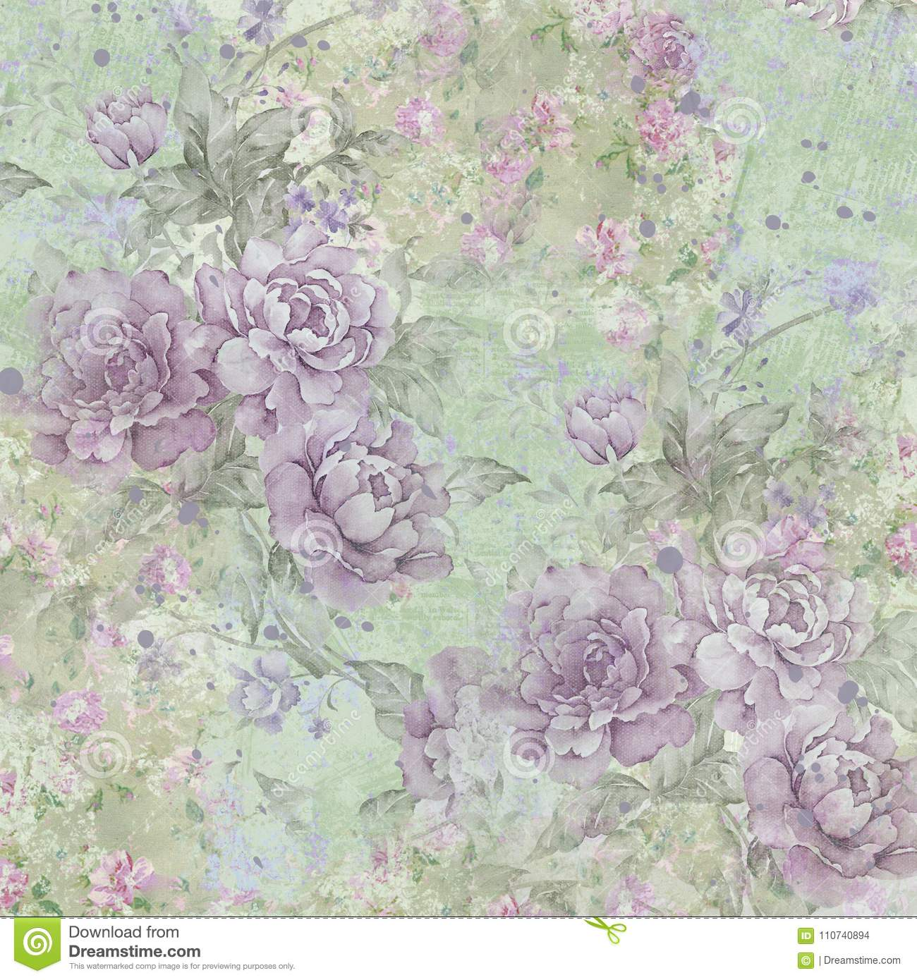 Vintage Roses Pattern Background Green Purple Roses Shabby