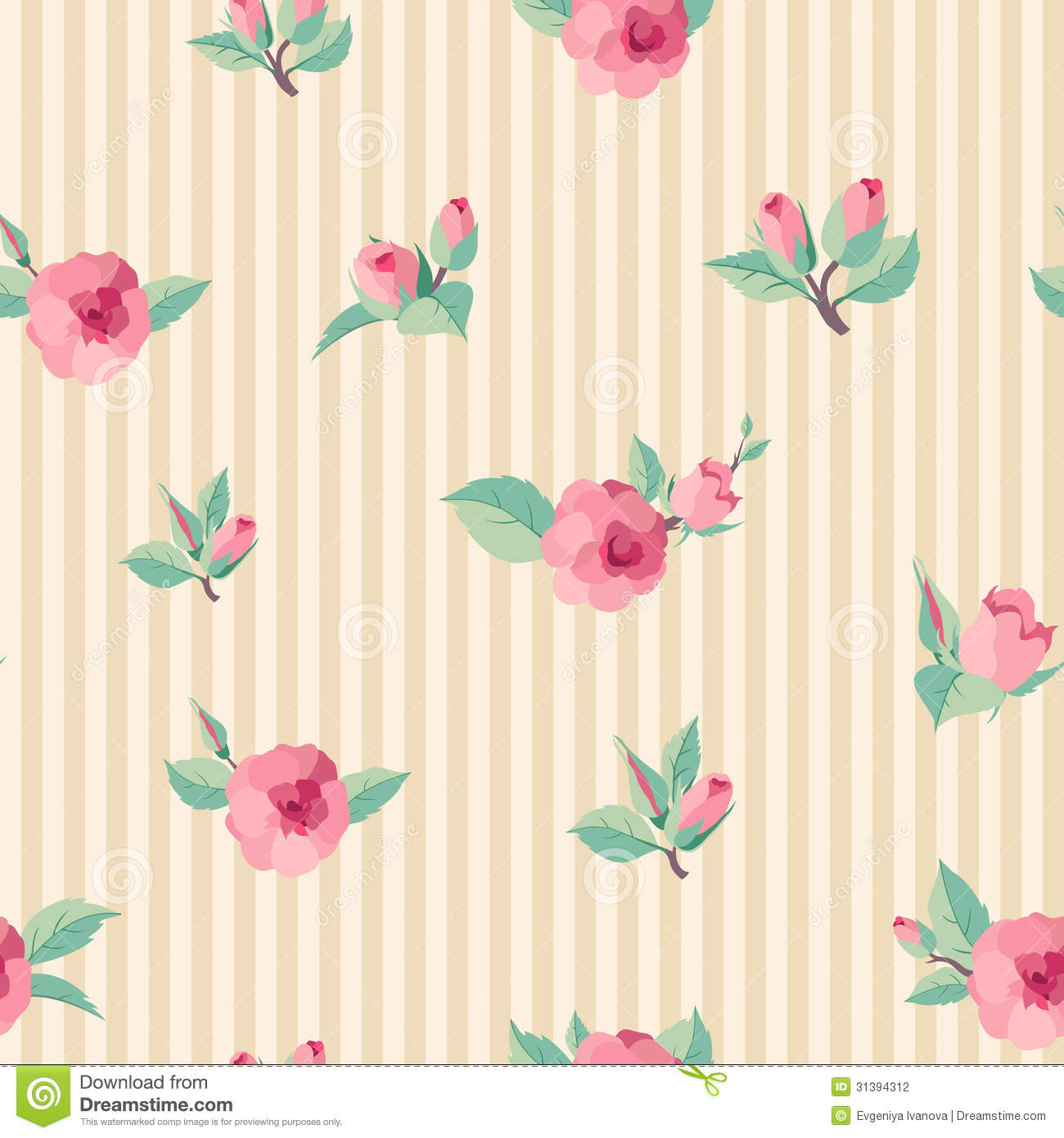 Vintage Roses Seamless Pattern Stock Photography - Image ...