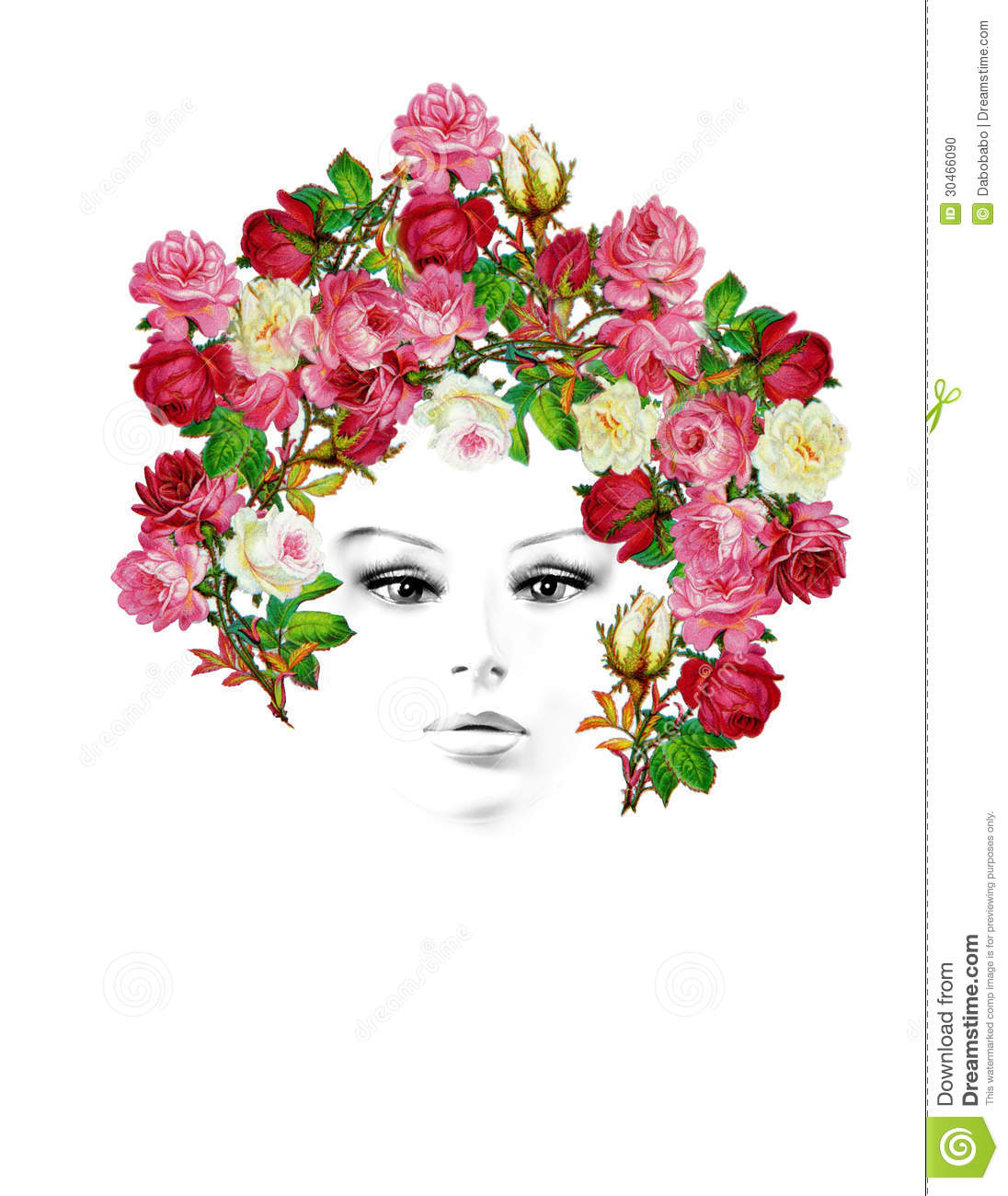 Retro vintage drawing of a girl with colorful roses in her hairs.
