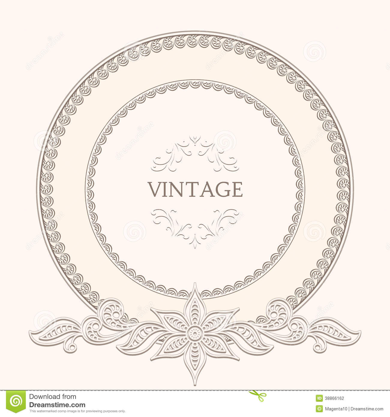 Vintage round frame stock vector image of color lace for Z label templates