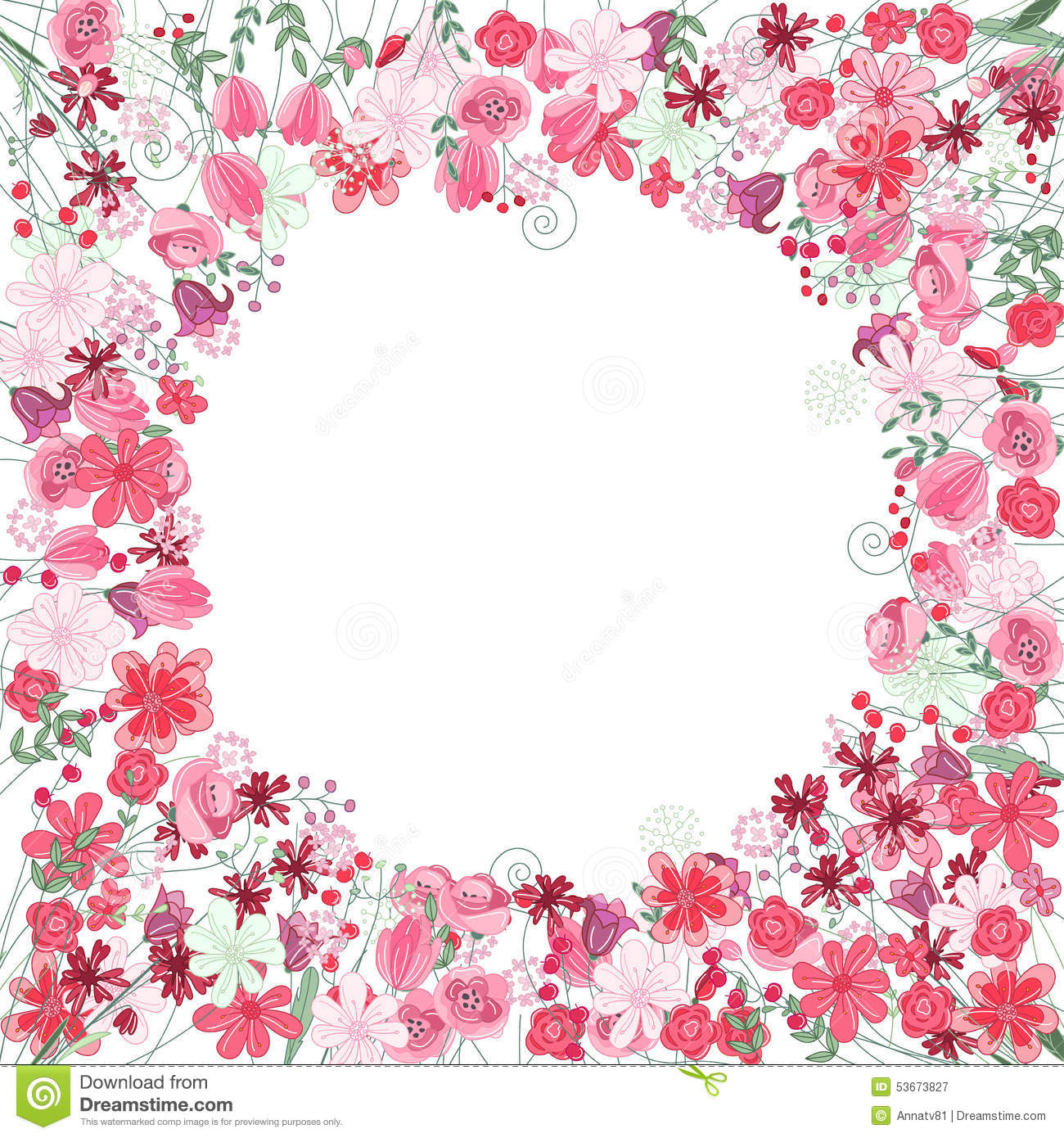 Vintage Round Frame With Contour Red Flowers Stock Vector