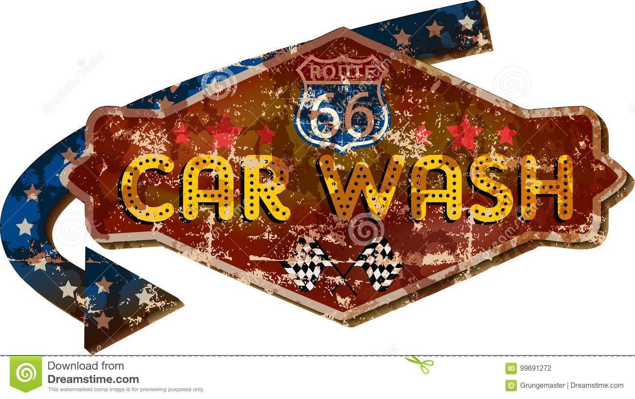 vintage route 66 car wash sign stock vector - illustration of