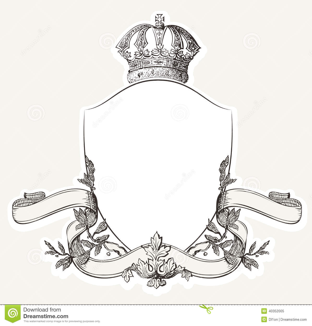 Vintage Royal Crest With Shield Crown And Banne