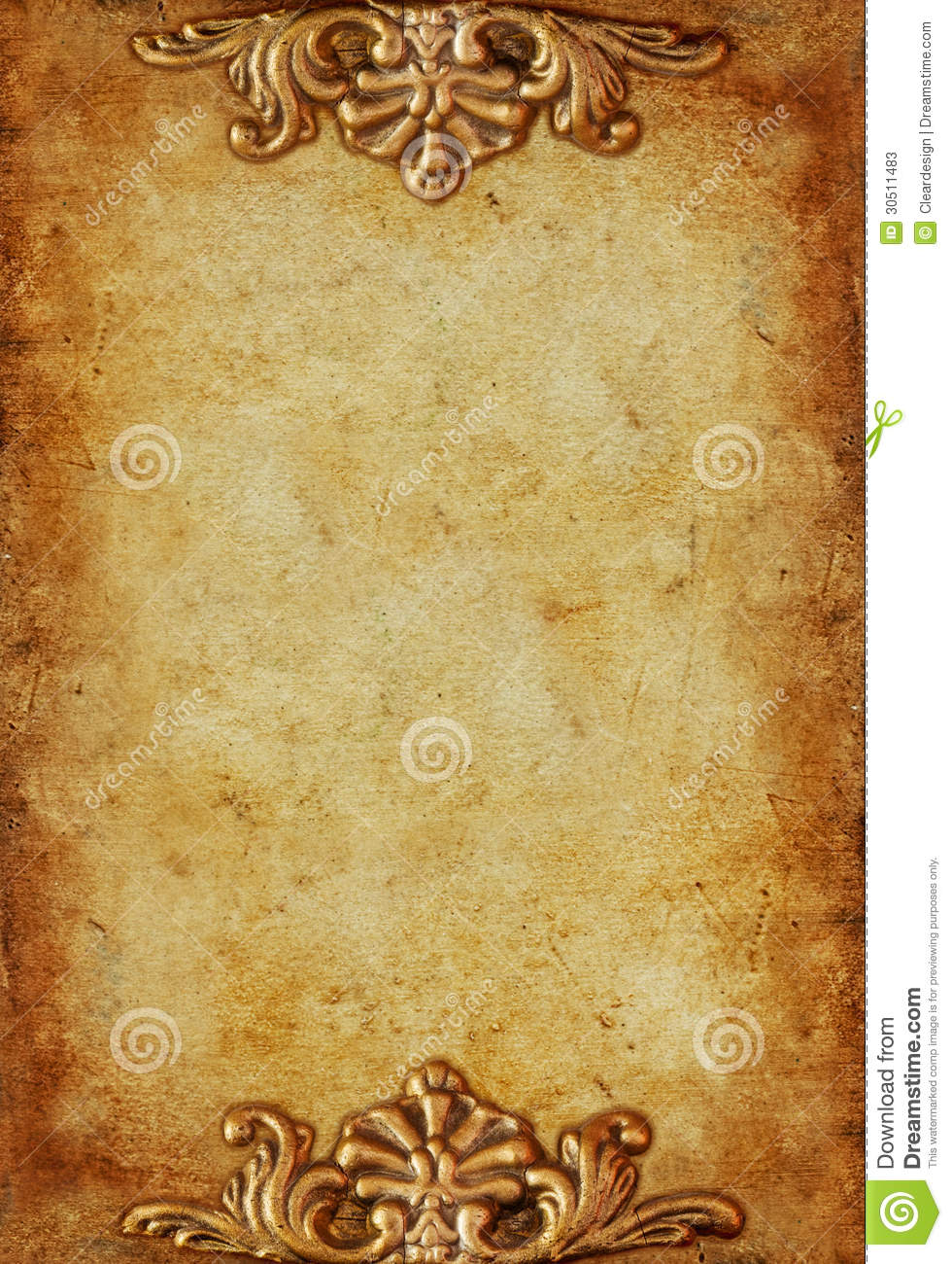 vintage royal gold background with floral ornaments stock