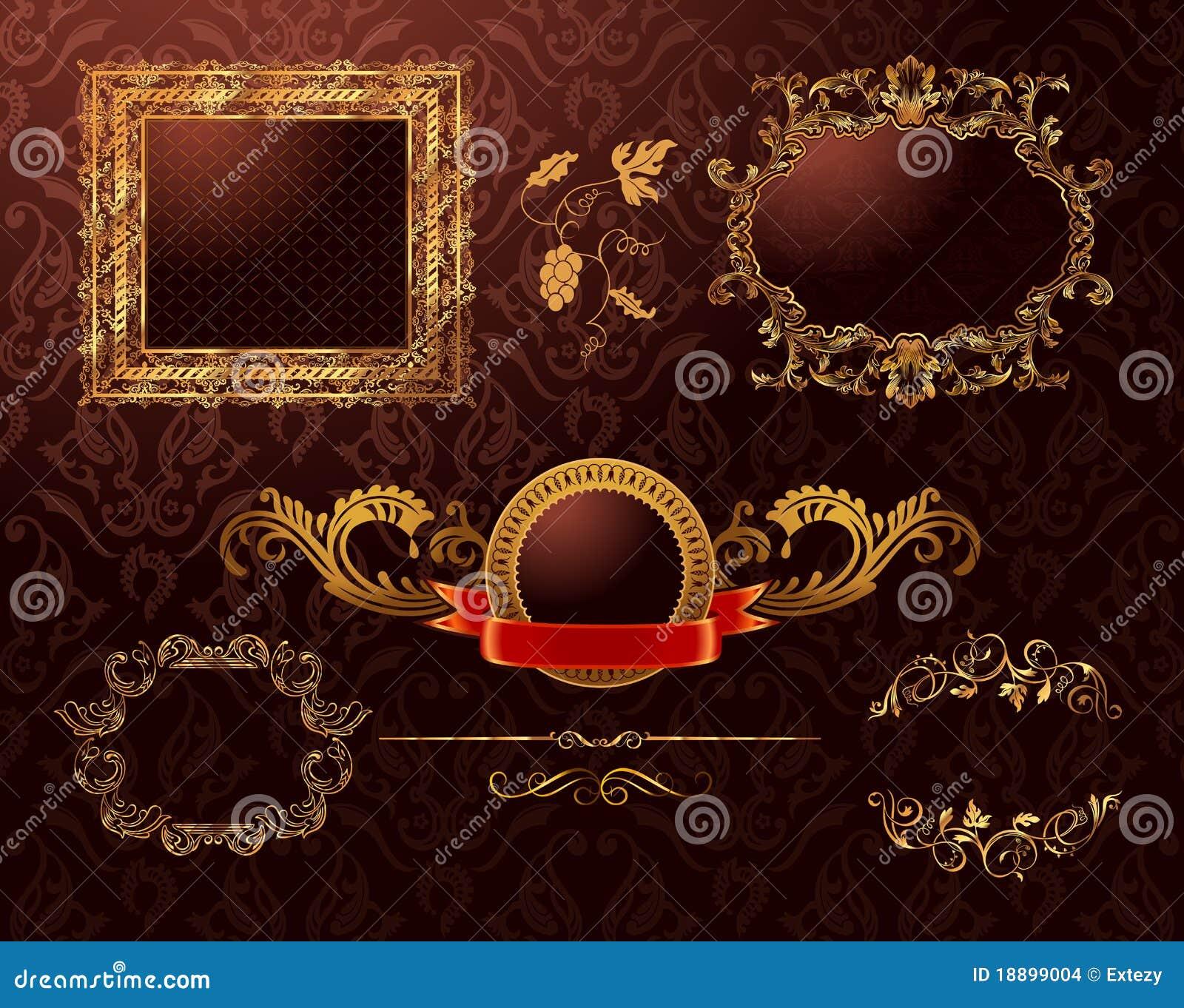 vintage royal gold frames ornament  vector element stock