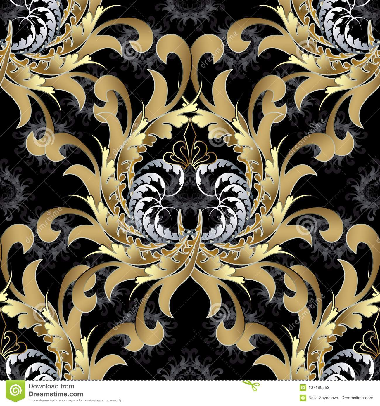 Vintage Royal Seamless Pattern Gold Baroque Wallpaper