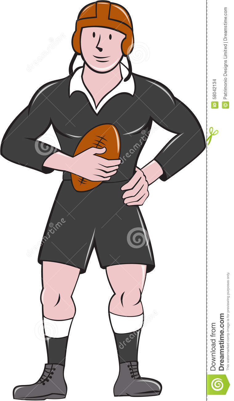 Vintage Rugby Player Holding Ball Standing Cartoon Stock ...