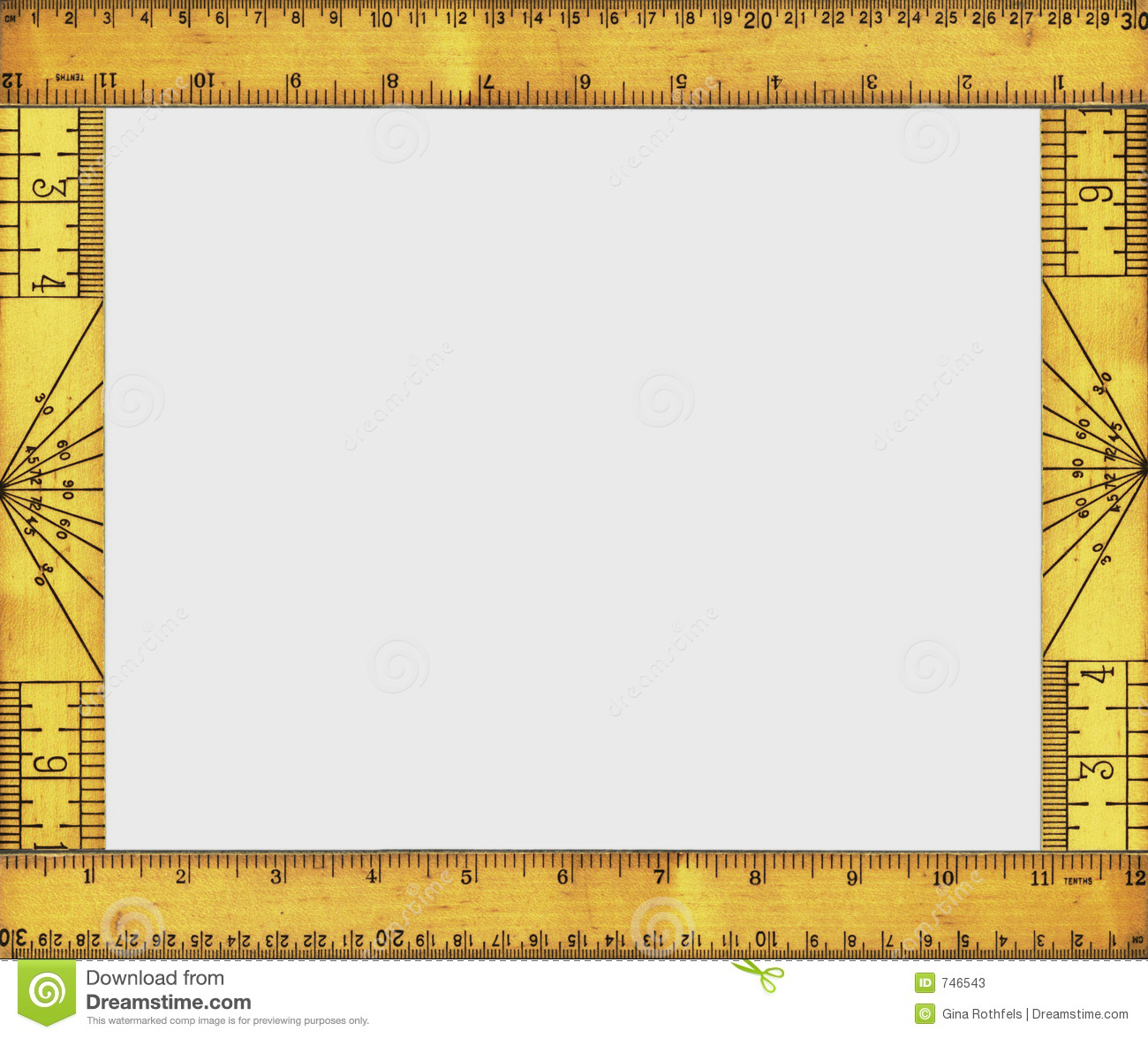 Frame made up of the back and front views of a vintage wooden ruler.