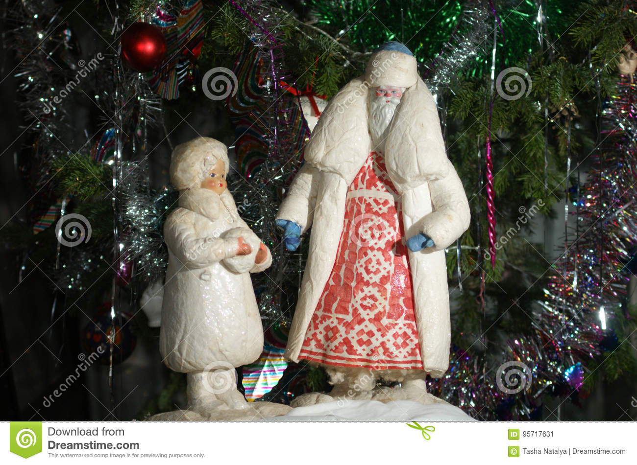 download santa claus and snow girl antique russian christmas decoration stock image image