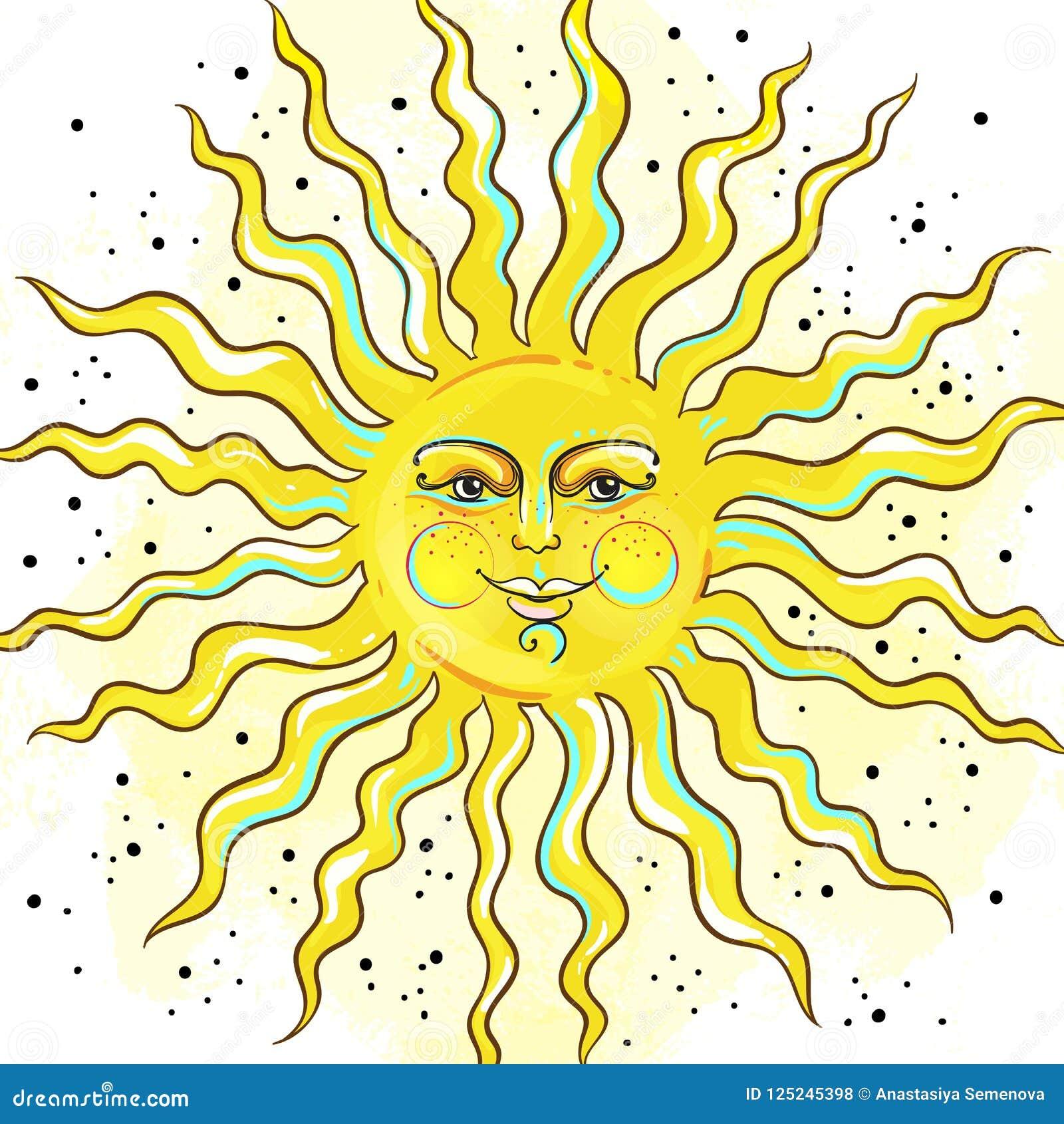 Vintage Russian Style Sun  Medieval Ornamental Solar Symbol  Vector