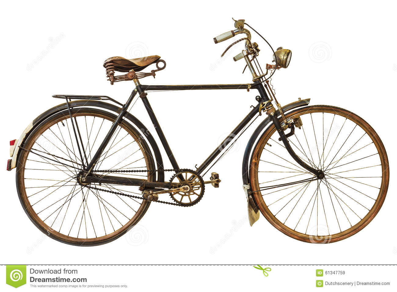 Download Vintage Rusted Bicycle Isolated On White Stock Image - Image of cutout, nineteenth: 61347759
