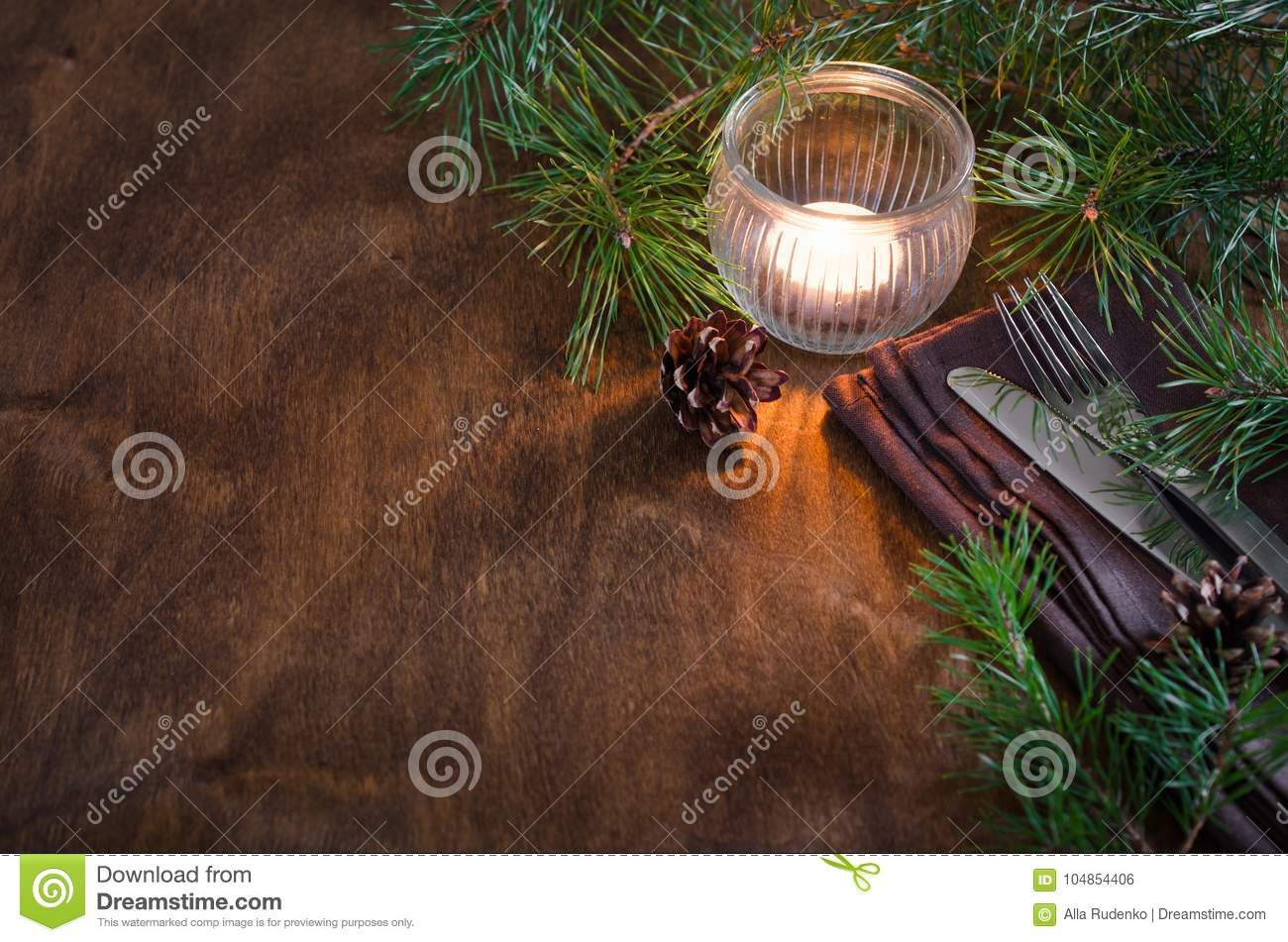 Rustic Christmas Table Setting With Candle Stock Photo Image Of Dishware Interior 104854406