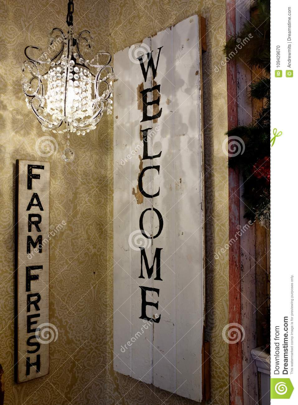 Vintage Rustic Farm Fresh Welcome Sign Stock Photo Image Of Fresh