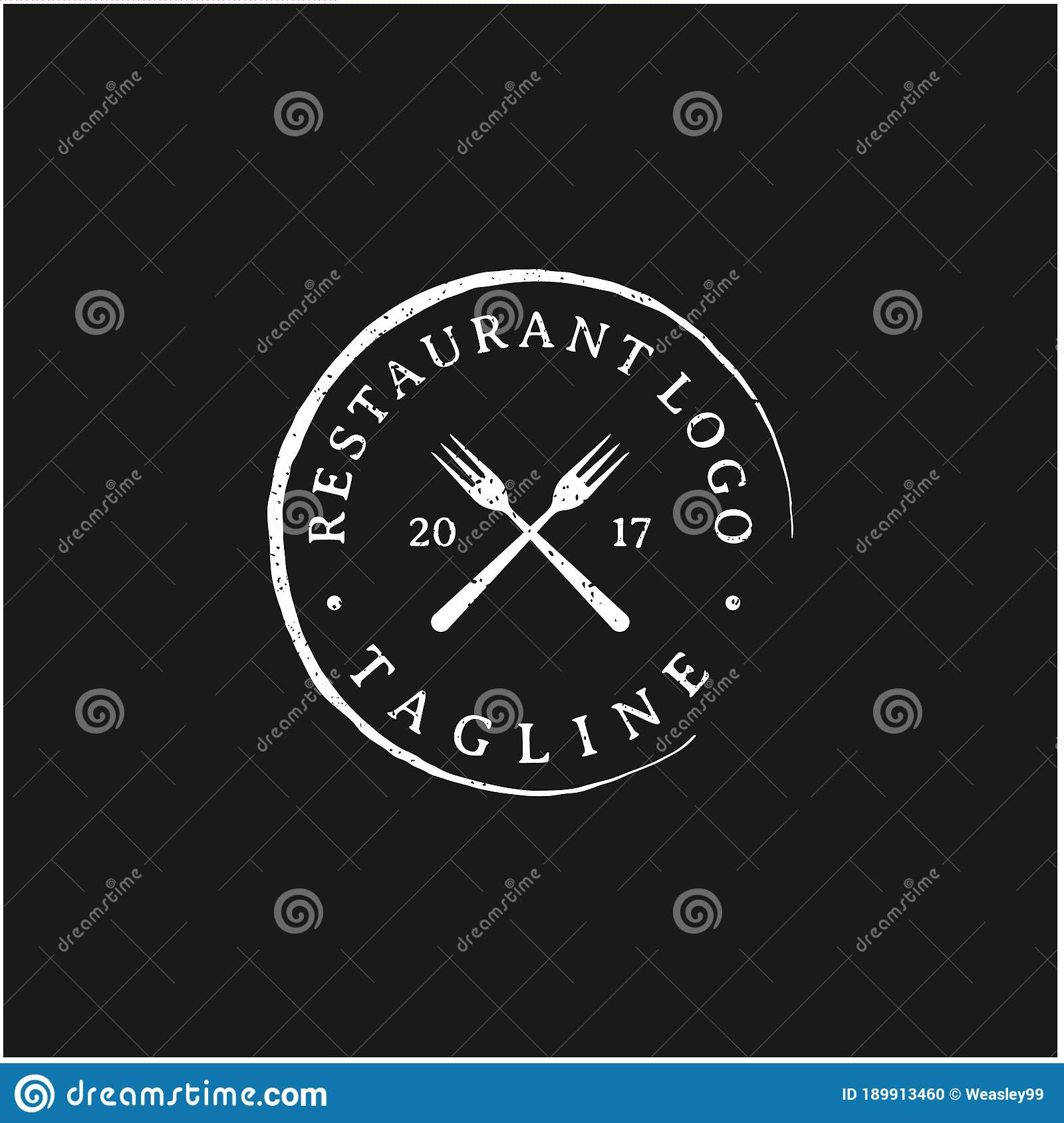 Vintage Rustic Stamp For Restaurant Logo Design Stock Vector Illustration Of Beef Ribs 189913460