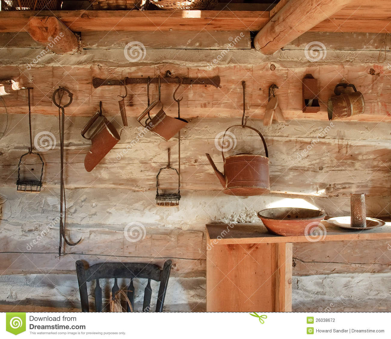 Vintage Kitchen Photography: Vintage Rustic Kitchen, Circa 1800s Stock Photography