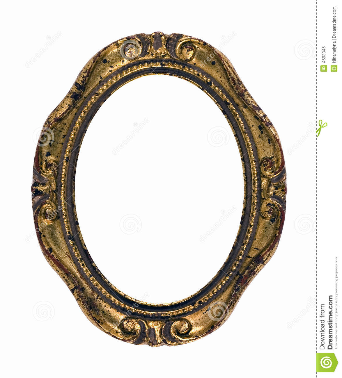 Vintage Rusty Gold Oval Frame Stock Image - Image of empty ...