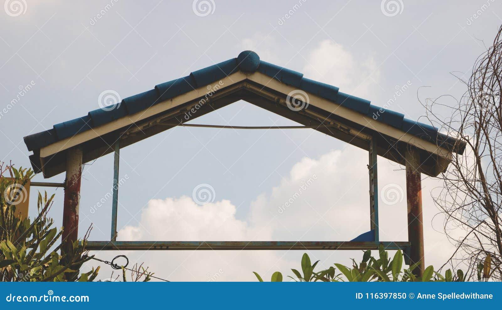 Vintage Rusty Metal Gate With Blue Tile Roof Stock Photo Image Of Door Leaf 116397850
