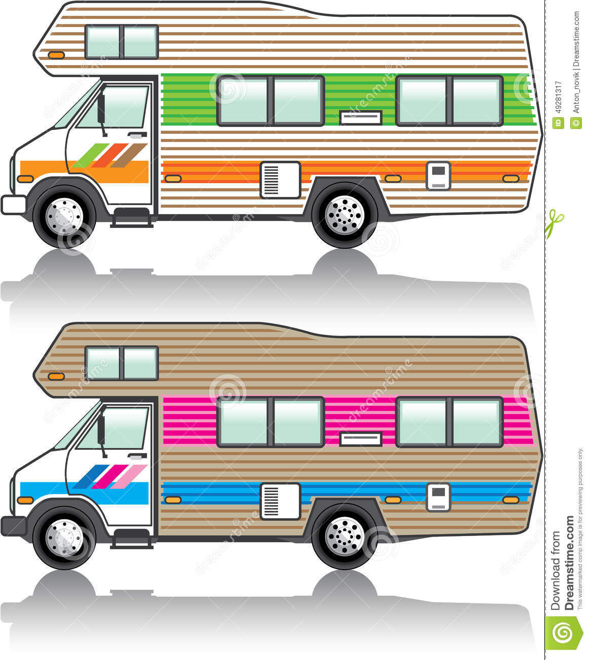 Vintage RV Stock Illustration Image Of American Park