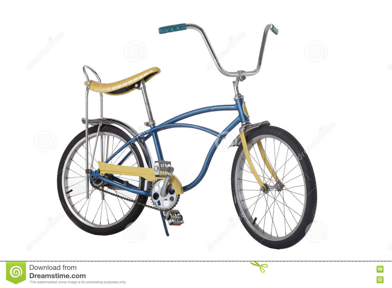 Vintage 1970s bicycle with banana seat. isolated on white background