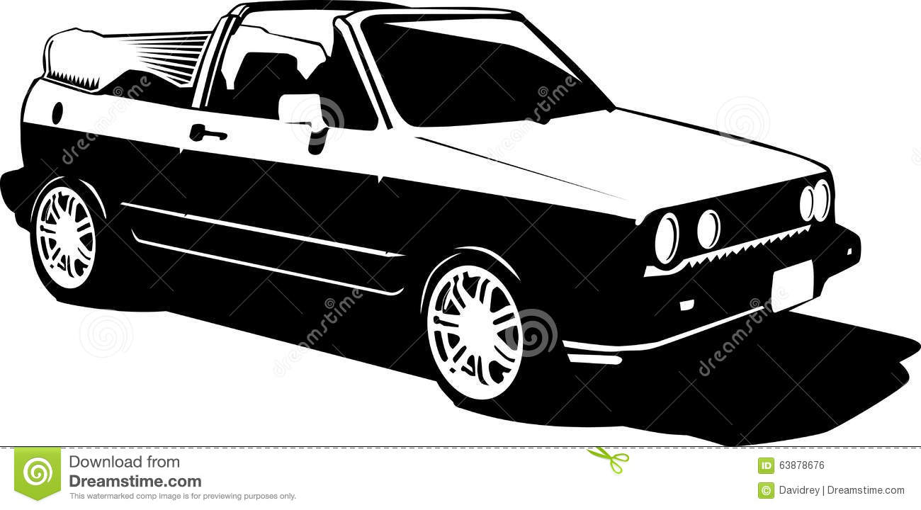 Cartoon Black And White Illustration Of Vintage Sports Car From The 80s Or 90s Convertible Cabriolet